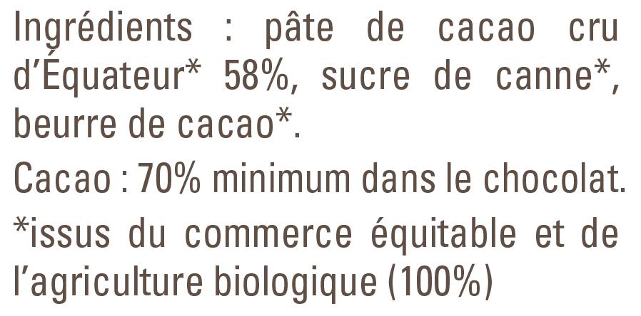 cacao cru liste des ingrédients