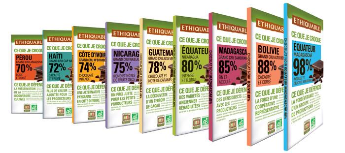 Gamme pure chocolat pure origine équitable et bio