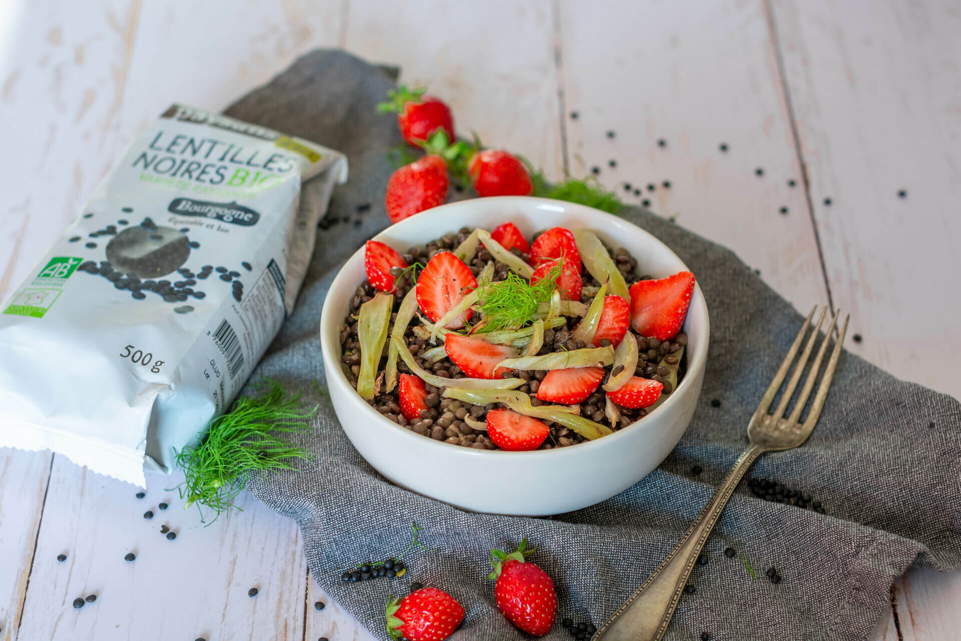Salade beluga fraises fenouil