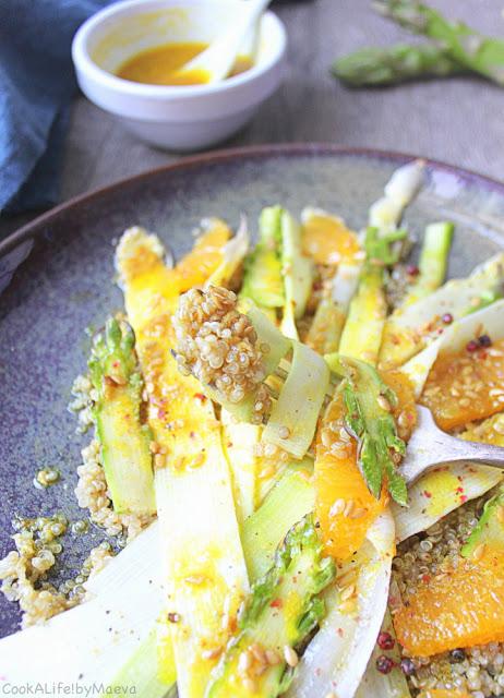 Salade quinoa et asperges crues équitable et bio