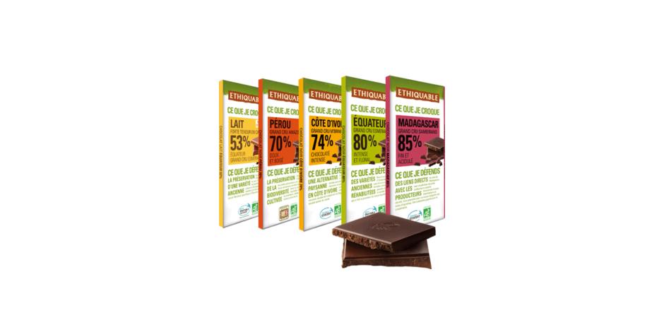 chocolat noir grand cru % cacao ethiquable bio commerce équitable