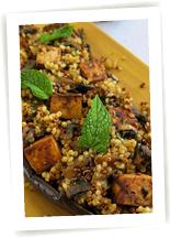 Aubergine gingembre et quinoa